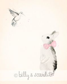 Girl Nursery Decor 8x10 Art Print of Bunny by BillyandScarlet