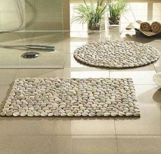 """Dollar Store rocks or """"glass pebbles"""", placemats and a glue gun"""