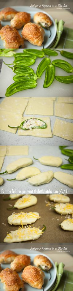 Jalapeno Poppers in a Blanket from thelittlekitchen.net I'm going to use crescent rolls instead of puff pastry.