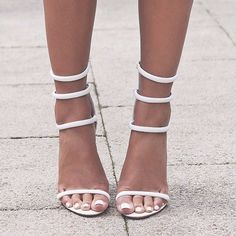 Tejana White Strappy Leather Look Stiletto Heel | Strap heels ...