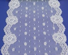 """Scalloped White Lace 6 1/2"""" Wide x 4 1/2 Yards Nylon Vintage Sewing Supplies 17799 by QueeniesCollectibles on Etsy"""