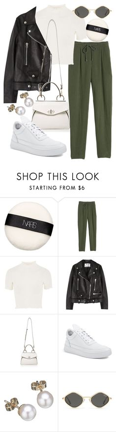 """""""Untitled #22358"""" by florencia95 ❤ liked on Polyvore featuring NARS Cosmetics, Rebecca Taylor, Topshop, Acne Studios, Handle, Filling Pieces and London Road"""