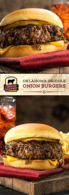 Certified Angus Beef®️️️️ brand Oklahoma Griddle Onion Burgers are made with the BEST ground chuck mixed with TASTY sweet onion! This perfectly spiced burger recipe is a must-try. Perfect for a family meal or game day! #bestangusbeef #certifiedangusbeef #beefrecipe #burgertime #gamedayrecipes