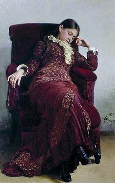 "ARTIST: Ilya Repin ~ ""Rest"" (Portrait of the artist's wife)"