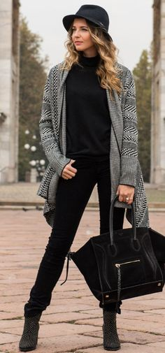 The Ugly Truth Of V Black And White Cardigan Fall Street Style Inspo