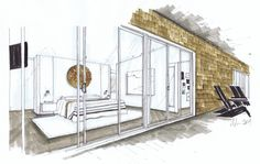 West Coast Modern Bedroom, Michelle Morelan Design and Rendering