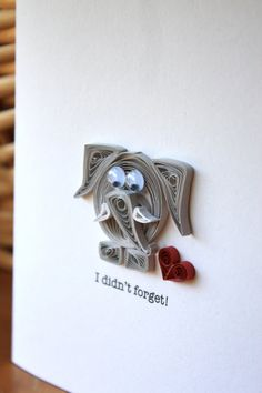 Forgetful Elephant Card - Quilled- Unique Greeting Card