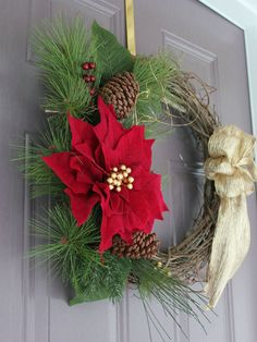 red poinsettia christmas wreath https://www.etsy.com/listing/173572023/on-sale-gorgeous-poinsettia-christmas?