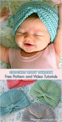 Häkeln Sie Baby Turban [Free Pattern and Video Tutorials] - Baby Diy - Stricken. - Häkeln Sie Baby Turban [Free Pattern and Video Tutorials] – Baby Diy – Stricken ist so einfach - Turban Crochet, Bonnet Crochet, Crochet Baby Beanie, Crochet Bebe, Baby Girl Crochet, Crochet Baby Clothes, Crochet For Kids, Baby Knitting, Free Crochet
