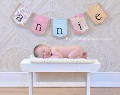 Custom name banner perfect for newborn photos, baby shower decorations, nursery decor sign KyliesChicBoutique