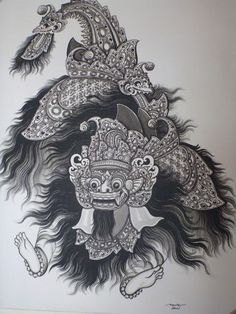 Balinese Traditional Barong Abstract Painting Canvas Original Framed 90cm x 70cm