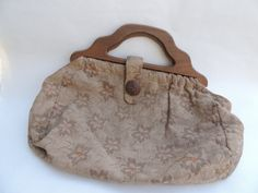 Vintage Tapestry Sewing Bag Wooden Button & Handles by RedoneAndVintage on Etsy