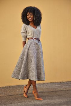 Dolman Sweater + Swing Midi Skirt. I'm a sucker for this silhouette, and the tweedy textures are making me swoon.