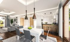 Modern kitchen and dining room Kitchen Dining, Dining Room, Villa Plan, Inner World, Modern House Design, Construction, Interior And Exterior, Living Spaces, House Plans
