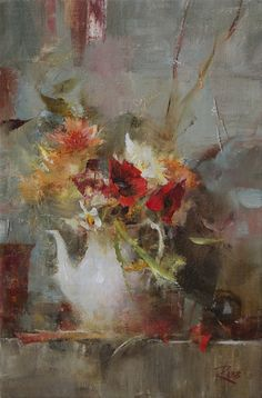 Bouquet with Poppies by Laura Robb ~ 12 x 8