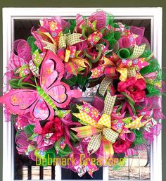 Front door wreath, Spring wreath, Summer wreath, Mesh wreath by Debmarkcreations on Etsy