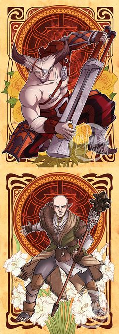 Momochanners.tumblr.com - their art is amazing and I have the varric one as a shirt from them.