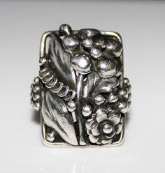 Antique Arts & Crafts Era Sterling Silver Floral Ring, Size 7 1/2