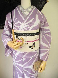 A nice lavender asa-no-ha pattern kimono by Mamechiyo