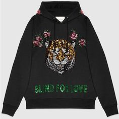 Gucci Embroidered Hooded Sweatshirt ($1,485) ❤ liked on Polyvore featuring tops, hoodies, sweaters, shirts, ready to wear, sweatshirts & t-shirts, women, sequin top, sequin shirt and embroidery shirts