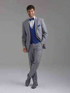 Royal blue vest & tie with an all grey suit by Sarno & Sons!