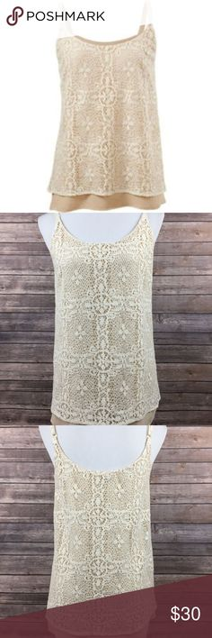 CAbi #798 Ivory It Girl Crochet Lace Tank Top CAbi #798 Women's Ivory It Girl Crochet Lace Double Layered Tank Top Size Small Bust is about 17.5 inches. Length is about 28 inches.  SKU-2288 CAbi Tops Tank Tops