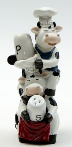 Salt and Pepper Shaker Set Cow Chef