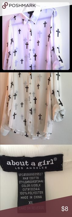 White sheer blouse with cross design Cross design white sheer long sleeve blouse. Looks great over tank tops or fitted shirt. Dress it up or play it casual!  👠 fits more like a oversized medium About a girl Tops Blouses