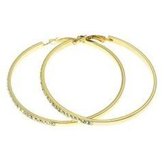 "Gold Tone 2.25"" Crystal Hoop Fashion Earrings $9.90 Pammyjfashions.com"