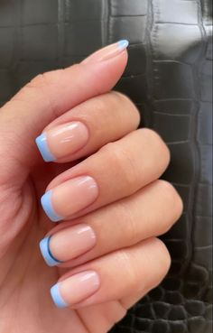 Blue Gel Nails, Baby Blue Nails, Blue Acrylic Nails, French Tip Acrylic Nails, Acrylic Nail Tips, Short French Tip Nails, Gel French Tips, Blue French Tips, Colored French Tips