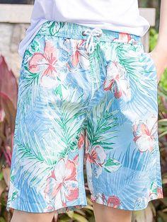 LikeBunny Blue and Orange Camouflage Pattern Couple's Beach Shorts Beach Activities, Couple Beach, Couple Shirts, Tropical Flowers, Swim Trunks, Flower Patterns, Patterned Shorts, Camouflage, Hawaii