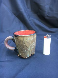 Green Brown Hand Carved Mug Rustic