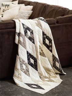 Enjoy the Strippy Diamonds digital pattern from Fons & Porter's Quilting Quickly . Be smart use the 45 degree line on your ruler to line up the angle when cutting the diamonds and parallelograms for this quilt.