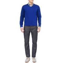 FaconnableWool and Cotton-Blend V-Neck Sweater