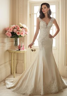 Satin Wedding Dresses Sophia Tolli Spring 2016 Wedding Dress - Sophia Tolli Spring 2016 Bridal Collection is a luxurious parade of gorgeous wedding dresses that ensures a WOW from your groom. 2016 Wedding Dresses, Stunning Wedding Dresses, Wedding Attire, Bridal Dresses, Beautiful Dresses, Wedding Gowns, Sofia Tolli Wedding Dress, Bridesmaid Dresses, Dresses 2016