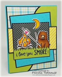 "airbornewife's stamping spot: MOJO447 ""I LOVE YOU S'MORE!"" card using Lawn Fawn stamps/dies *W/MEASUREMENTS"
