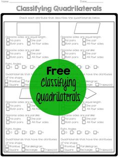 Free quadrilaterals printable for teaching geometry geometry lessons, geometry activities, teaching geometry, math Geometry Lessons, Teaching Geometry, Geometry Worksheets, Math Lessons, Teaching Math, Geometry Activities, Teaching Ideas, Math Activities, Maths