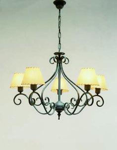 Lámpara de forja Venecia 5 luces, se puede cambiar color de la forja así como las pantallas