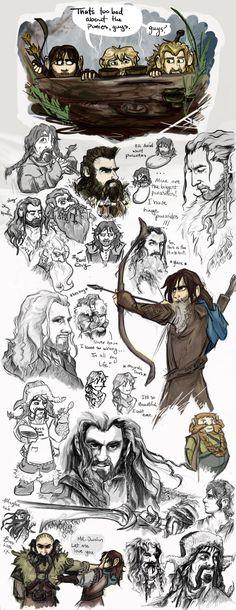 The Hobbit by *TheDandyDragon on deviantART. Hobbit drawing references! #Hobbit #Dwarves #Thorin #Fili #Kili #Bilbo #Ponies #Dwalin