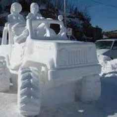 Jeep Snow Sculpture by alyce Jeep Meme, Jeep Humor, Jeep Quotes, Jeep Sayings, Jeep Baby, Badass Jeep, Ice Art, Snow Sculptures, Snow Art