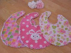3 Handmade EASTER Boutique Rag Quilt Bib GIFT Set Spring Bibs Embroidered Bunny