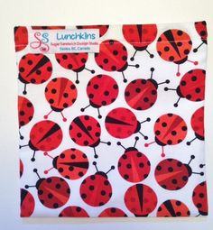 Red White Ladybugs Cotton Print Re-Usable Lunchkins Sandwich Bag Nylon Lining and Velcro Closure