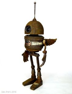 Aerowax ~ by Dan Jones a.a Tinkerbots Vintage Robots, Retro Robot, Recycled Robot, Recycled Art, Art Of Dan, Arte Robot, Sculpture Metal, Biscuit, Metal Art