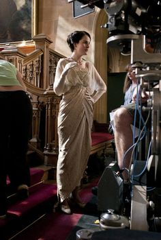 Michelle Dockery as Lady Mary Crawley on the set of Downton Abbey (2010).