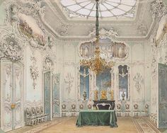 of the Winter Palace. The Green Dining Room - Luigi Premazzi Luigi Premazzi Interiors of the Winter Palace. The Green Dining RoomLuigi Premazzi Interiors of the Winter Palace. The Green Dining Room Rococo, Baroque, Luigi, Green Dining Room, Palace Interior, Winter Palace, Hermitage Museum, European Home Decor, Interior Rendering