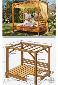 38 super Ideas for diy outdoor daybed gardensdaybed diy gardens ideas outdo… Outdoor Daybed, Diy Outdoor Furniture, Garden Furniture, Diy Furniture, Outdoor Lounge, Furniture Projects, Outdoor Spaces, Outdoor Living, Gazebos