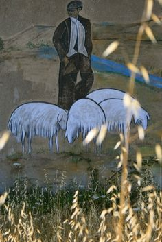 Murales nella campagna di Orgosolo - Wandmalerei in der Landschaft bei Orgosolo - wall painting near Orgosolo