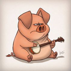You'd think a pig that can play a banjo would be happier about it. You'd think about it all the time. It would keep you up at night and eventually ruin your life. #banjopigs #banjo #thislittlepiggy