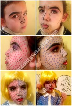 Roy Lichtenstein costume, comic costume, best handmade costume, makeup tutorial