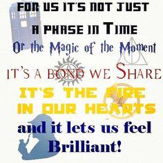 Doctor Who, Harry Potter, supernatural, hunger games, Sherlock Holmes. The pentagram of fandoms Geek Out, Nerd Geek, Fandom Crossover, Fandoms Unite, My Tumblr, Superwholock, Hunger Games, The Book, In This World